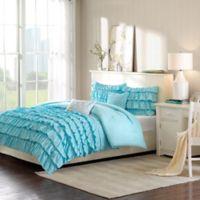 Intelligent Design Waterfall 5-Piece Reversible Full/Queen Comforter Set in Blue