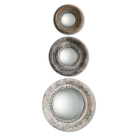 uttermost adelfia 3 piece round wall mirror set bed bath beyond. Black Bedroom Furniture Sets. Home Design Ideas