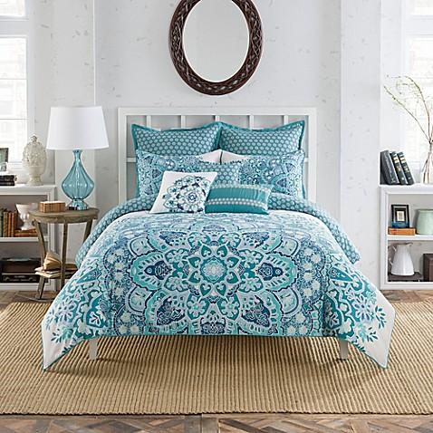 Anthology Kaya Reversible Duvet Cover Set In Blue Bed