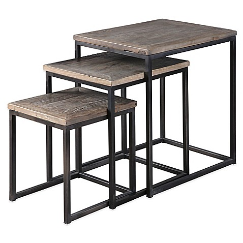 image of Uttermost Bomani 3-Piece Wood Nesting Tables Set in Grey