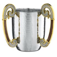 Classic Touch Wash Cup with Enamel Finish in Brown/White