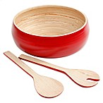 Gibson Overseas 3-Piece Bamboo Salad Set in Red