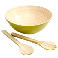 Gibson Overseas 3-Piece Bamboo Salad Set in Green