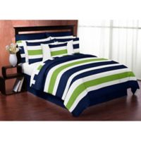 Sweet Jojo Designs Navy and Lime Stripe 3-Piece Full/Queen Comforter Set