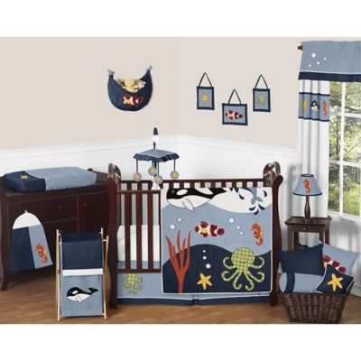 Sweet Jojo Designs Ocean Blue 11 Piece Crib Bedding Set