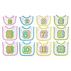 Neat Solutions® 12-Piece Monthly Milestone Bib Set in Pink/Yellow