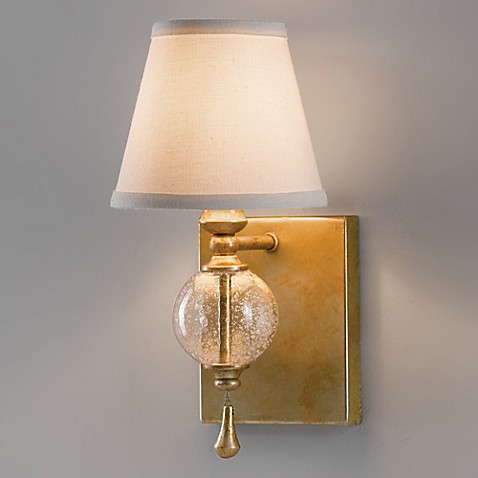 Bathroom Wall Sconces With Fabric Shades : Feiss? Argento Wall Sconce in Silver Leaf with Fabric Shade - Bed Bath & Beyond