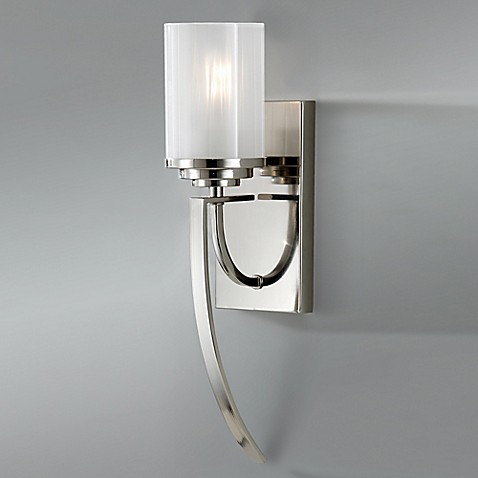 Buy feiss finley 1 light wall sconce in polished nickel from bed bath beyond for One light bathroom wall sconce