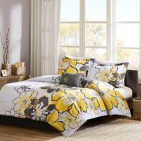 Mizone Allison Reversible Full Queen Comforter Set In Yellow Grey