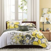 Mi zone Allison Reversible Full/Queen Coverlet Set in Yellow/Grey