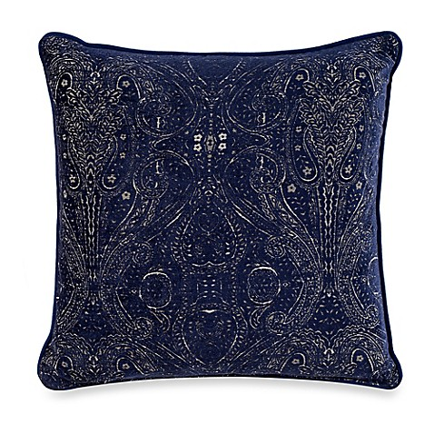 Navy Throw Pillows For Bed : Delft Square Throw Pillow in Navy - Bed Bath & Beyond