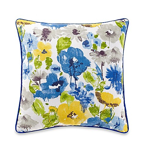 Bed Bath And Beyond Blue Throw Pillows : Jacklyn Square Throw Pillow in Yellow/Blue - Bed Bath & Beyond