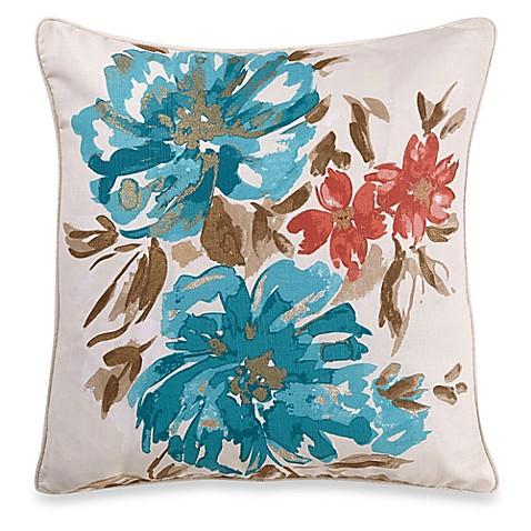 Bed Bath And Beyond Blue Throw Pillows : Marilia Floral Square Throw Pillow in Blue - Bed Bath & Beyond