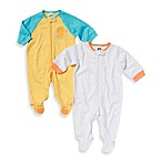 Gerber® Newborn 2-Pack Tab-Collar Duck/Dot Sleep 'n Play Footie in Yellow/White