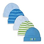 Gerber® Newborn 5-Pack Cotton Cap in Green/Blue