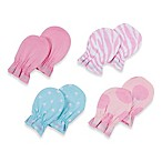 Gerber® 4-Pack Newborn Mitten in Pink/Zebra/Blue Flower/Pink Dot