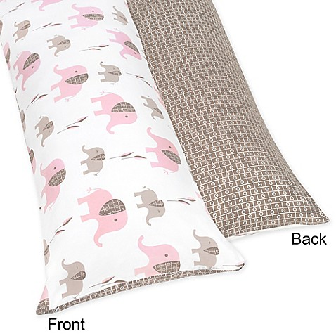 Sweet jojo designs elephant maternity body pillow case in for Bed bath beyond maternity pillow