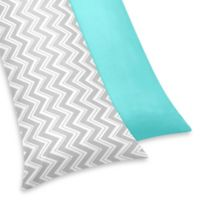 Sweet Jojo Designs Zig Zag Maternity Body Pillow Case in Turquoise/Grey