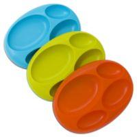 Boon® PLATTER Edgeless Non-Skid Divided Plate in Teal/Lime/Orange (Set of 3)