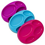 Boon® PLATTER Edgeless Non-Skid Divided Plate in Purple/Teal/Fuchsia (Set of 3)