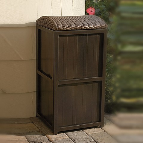 all weather wicker 21 gallon trash can bed bath beyond. Black Bedroom Furniture Sets. Home Design Ideas