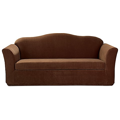 Sure fit stretch corduroy 3 piece sofa slipcover in brown for Brown corduroy couch