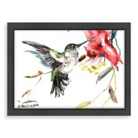 """Whimsical Hummingbird"" Wall Art with Black Frame"