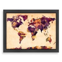 Americanflat World Map Purple Colour Wall Art