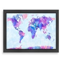 World Map Water Colour Wall Art in Purple/Pink