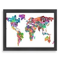 Americanflat World Map Word Wall Art with Black Frame
