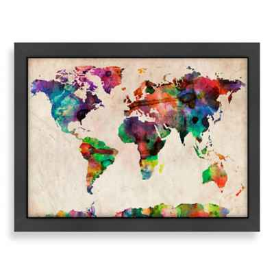 Americanflat World Map Splatter Colour Wall Art
