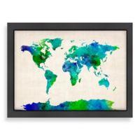 World Map Green Colour Wall Art
