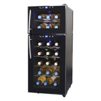 NewAir 21-Bottle Dual-Zone Thermoelectric Wine Cooler in Black