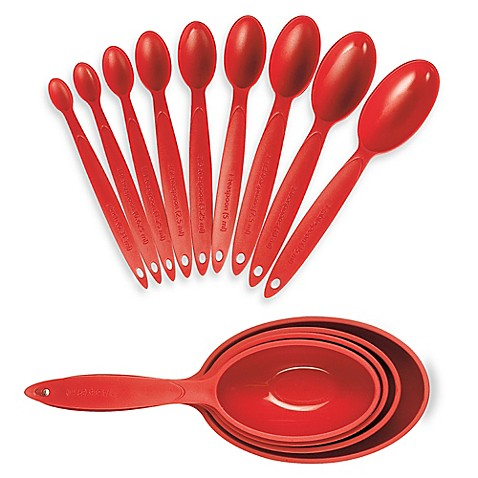 cuisipro measuring cups and spoons in red bed bath beyond. Black Bedroom Furniture Sets. Home Design Ideas