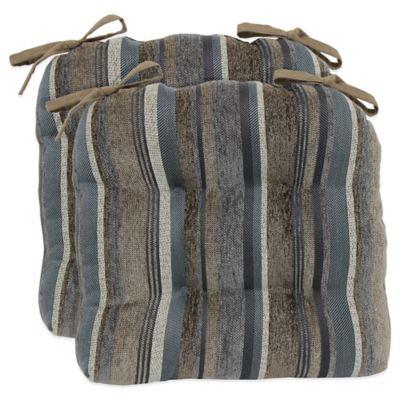 Bailey Stripe Chenille Chair Cushions (Set Of 2)