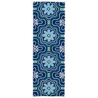 Kaleen Matira Flower 2-Foot x 6-Foot Indoor/Outdoor Area Rug in Blue