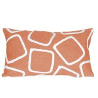 Liora Manne Squares 12-Inch x 20-Inch Outdoor Throw Pillow in Coral