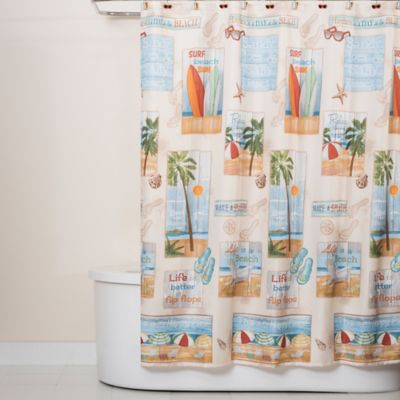 bed bath and beyond bathroom curtains. Beach Time Shower Curtain Buy Tropical Curtains from Bed Bath  Beyond