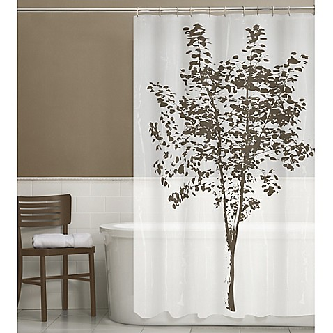 arbor peva shower curtain in brown bed bath amp beyond holly tree 70 inch x 70 inch shower curtain and hook set