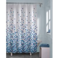 Matrix Geo Shower Curtain in Blue
