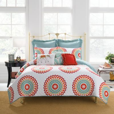Anthology™ Bungalow Quilted Standard Pillow Sham in Coral/White