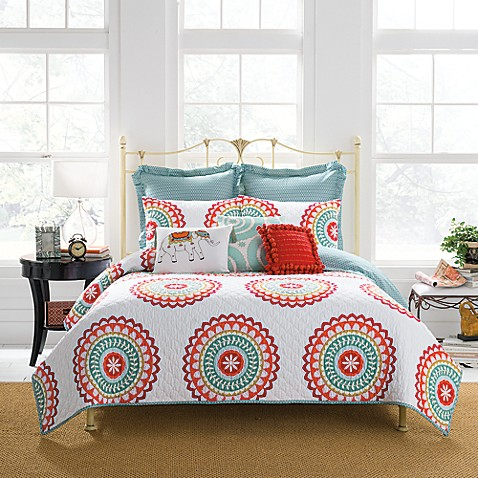 Anthology Bungalow Quilted Pillow Sham In Coralwhite Bed Bath