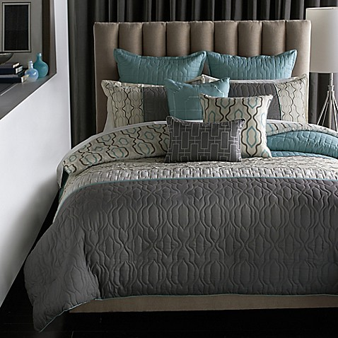 Bryan keith bedford reversible 9 piece comforter set bed for Bed pillow ideas