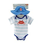Baby Aspen Size 0-6M 2-Piece Fun in the Sun Bodysuit and Hat Set in Blue/White