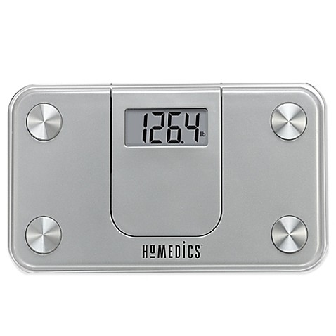 homedics® mini bathroom scale in silver - bed bath & beyond