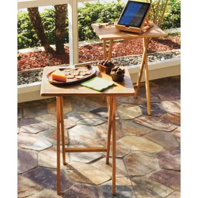 Lipper Bamboo Folding Snack Tables (Set of 2) - Bed Bath & Beyond