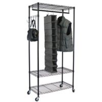 Oceanstar Garment Rack with Adjustable Shelves and Hooks in Black