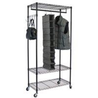 Oceanstar Garment Rack with Adjustable Shelves and Hooks in Black