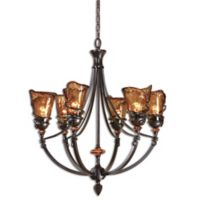 Uttermost Vitalia 6-Light Chandelier in Oil-Rubbed Bronze with Toffee-Colored Glass Shades