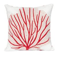 Liora Manne Coral Fan 20-Inch x 20-Inch Outdoor Throw Pillow in Coral